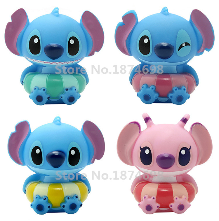 Lilo And Stitch Baby Bath Toy Set Of 4 Cute Stitch Angel Figure Soft  Plastic Noise Maker Kids Toys Children Gifts