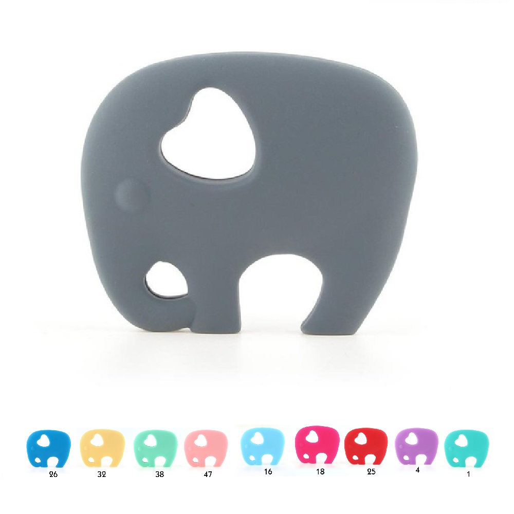 TYRY.HU 1pc Elephant Silicone Teether Necklace Teething Beads Pandent Baby Nursing Toy Pacifier Chain Decoration BPA Free