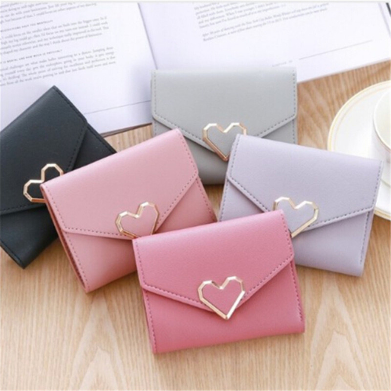 2019 New Simple Fashion Women Coin Purse Leather Solid Color Vintage Short Wallet Heart Hasp Ladies Girls Card Holder Clutch Bag