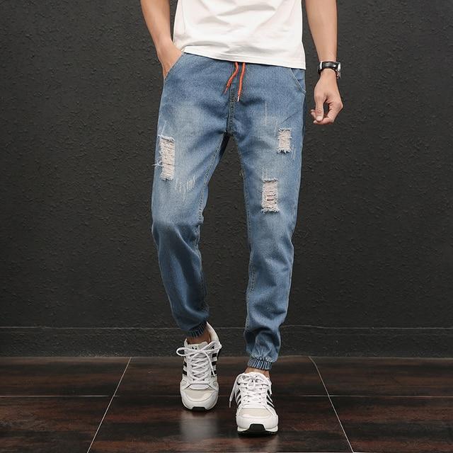 aa2a8779a8f 2019 Summer Thin Ripped Jeans Men Pants Blue Boys Casual Denim Pants Korean  Mens Joggers Jeans Male Plus Size 5XL