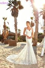 Женское свадебное платье с открытой спиной, белое пляжное платье Русалка на бретельках, лето 2020