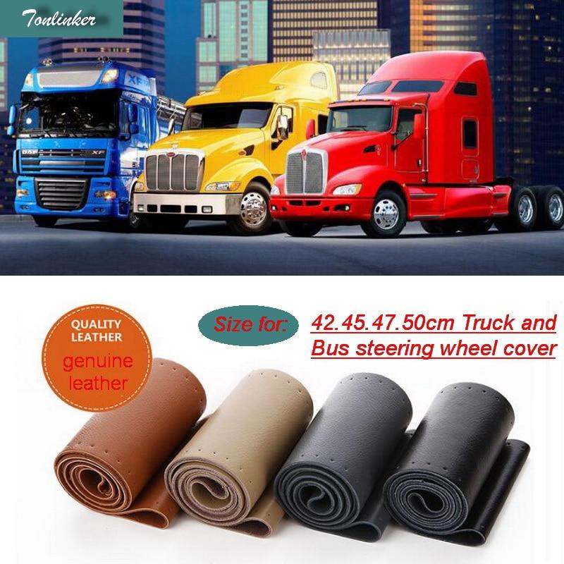Tonlinker 1 pcs car styling Véritable Couverture de Volant En Cuir pour la Voiture SUV Bus Camion, TAILLE 42 cm 45 cm 47 cm 50 cm Diamètre de voiture