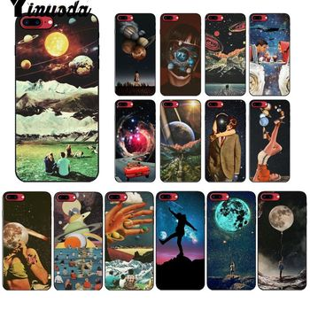 Yinuoda Vintage Trippy Art Aesthetic TPU Soft Black Phone Case for Apple iPhone 8 7 6 6S Plus X XS MAX 5 5S SE XR Mobile Cover image