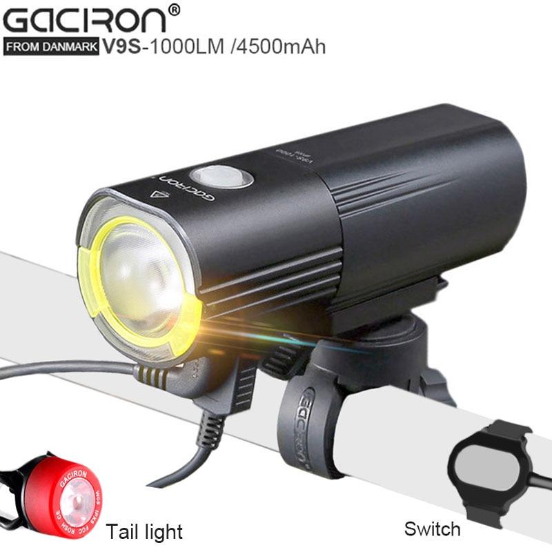 GaCIROn V9S USB Lâmpada Bicicleta luz Da Bicicleta CREE L2 Led Bateria de Energia Portátil para Celular Com 26650 luzes de Bicicleta à prova d' água