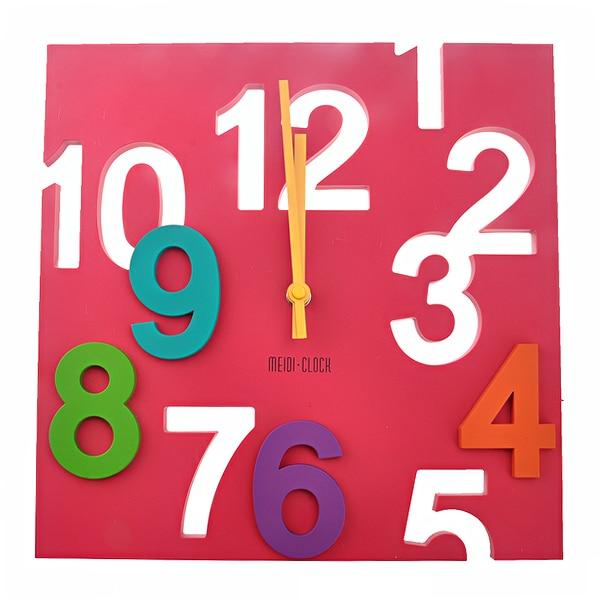 MD1105 Creative 3D Colorful Arabic Numbers Square Shaped Quartz Wall Clock Art Clock