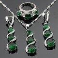 Зеленый Создания Изумрудный Белый Серебряные Цвета Ювелирные Наборы Для Женщин Ожерелье Кулон Серьги Кольца Бесплатный Подарочная Коробка
