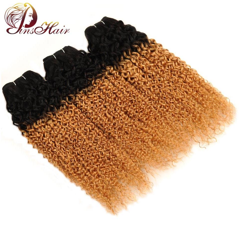 Pinshair Ombre Brazilian Jerry Curl Human Hair 3 Bundles Deals 1B 27 Blonde Hair Bundles Weave Weft Extensions Non Remy No Smell