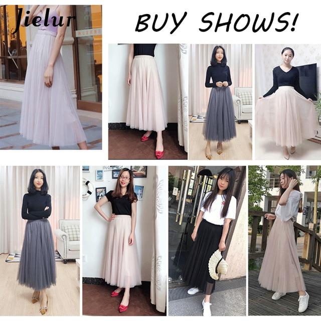 Jielur Skirt Autumn 3 Layers Princess Tulle Skirts Womens Mesh Pleated A-line Saia Female Jupe Tutu Skirts Faldas Mujer Moda 2