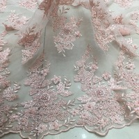 blush pink/peach 3d beaded lace fabric handmade flowers sequins beads african negerian fashion goods for party/stage dress