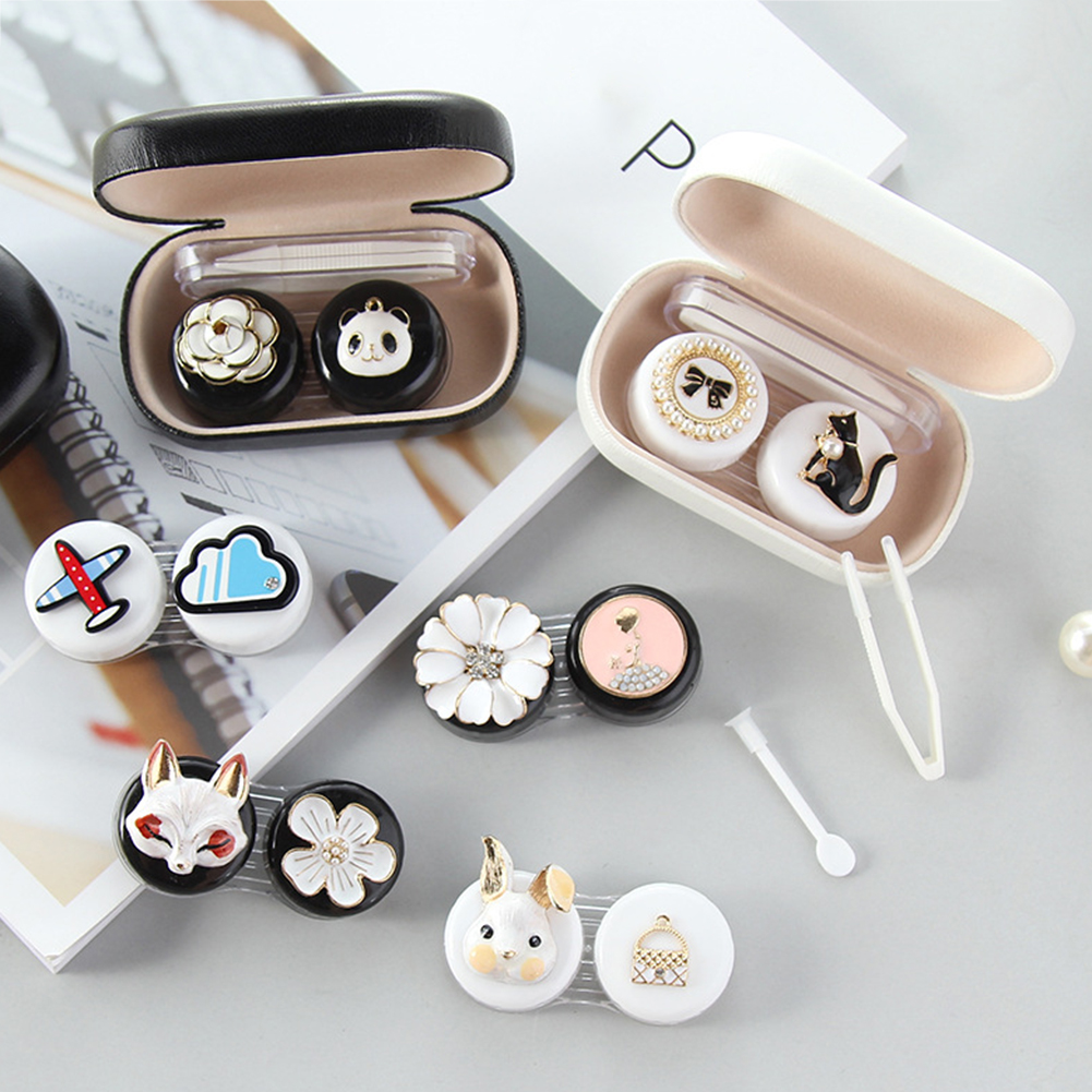 Cute Contact Lens Case Glass Lens Container Box Female Cute Contact Lenses Box