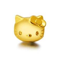 2 шт 3D твердая Золотая KT подвеска в виде головы кошки hello kitty позолоченный плетеный браслет аксессуары из бисера