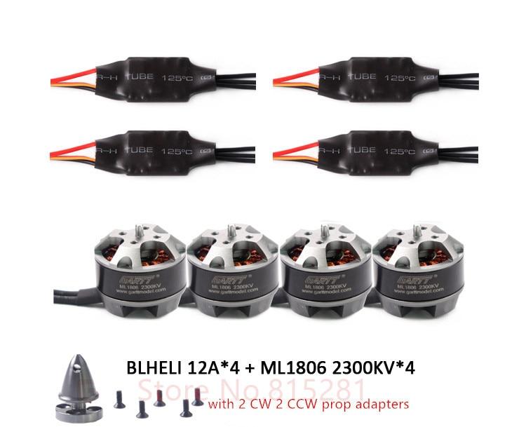 GARTT 4x ML 1806 2300kv Brushless Motor with prop adapter+ 4x 12A BLHELI ESC For FPV QAV 150 180 210 250 Quadcopter Drone gartt 4 pcs ml 1806 2300kv brushless motor with prop adapter