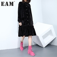 EAM 2018 New Spring Lapel Long Sleeve Black Velour Lotus Leaf Edge Split Joint Solid