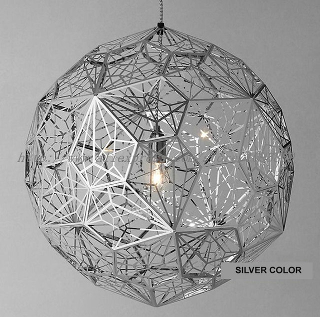 Modern Nordic Stainless Steel Diamond Hollow Ball Pendant Lights Lamps Copper Gold Silver Ceiling
