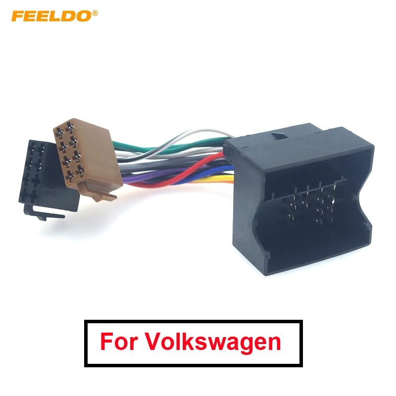 FEELDO 1 шт. автомобильный стерео радио провод адаптер для Volkswagen Passat Bora Fox Golf Tiguan для Skoda Audi штекер жгут проводов кабель