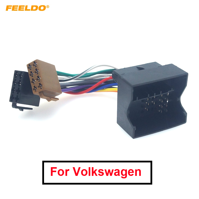 Feeldo 1 pc adaptador de fio rádio estéreo iso do carro para volkswagen passat bora raposa golf tiguan para skoda audi plug cablagem cabo