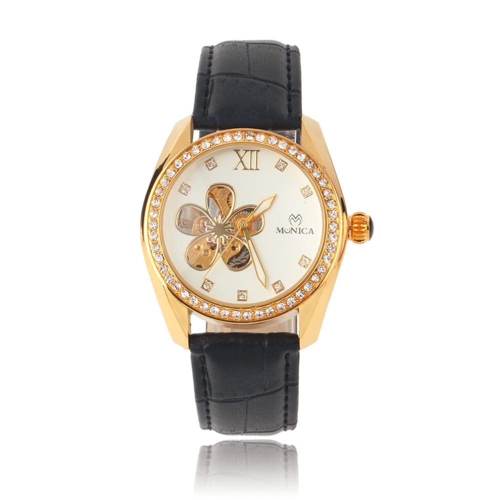 OUTAD Fashion Quartz Watch Pentalobe Hollow Flower Pattern Crystal Analog Round Dial relogio feminino wrist watch