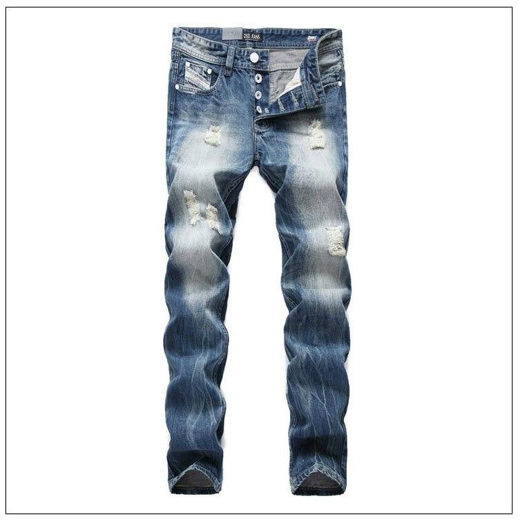 2017 new  Brand Fashion Design Biker Jeans Men Straight Slim Denim Pocket Mens Jeans With Holes Men Ripped Jeans Plus Size 2017 fashion patch jeans men slim straight denim jeans ripped trousers new famous brand biker jeans logo mens zipper jeans 604