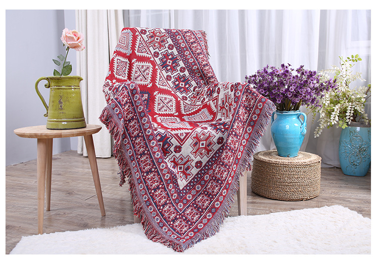 LFH Cotton Knitted Thread Blanket Colorful Casual Bohemian Indian Style Vintage Blanket for Sofa Bed Bedroom Living room