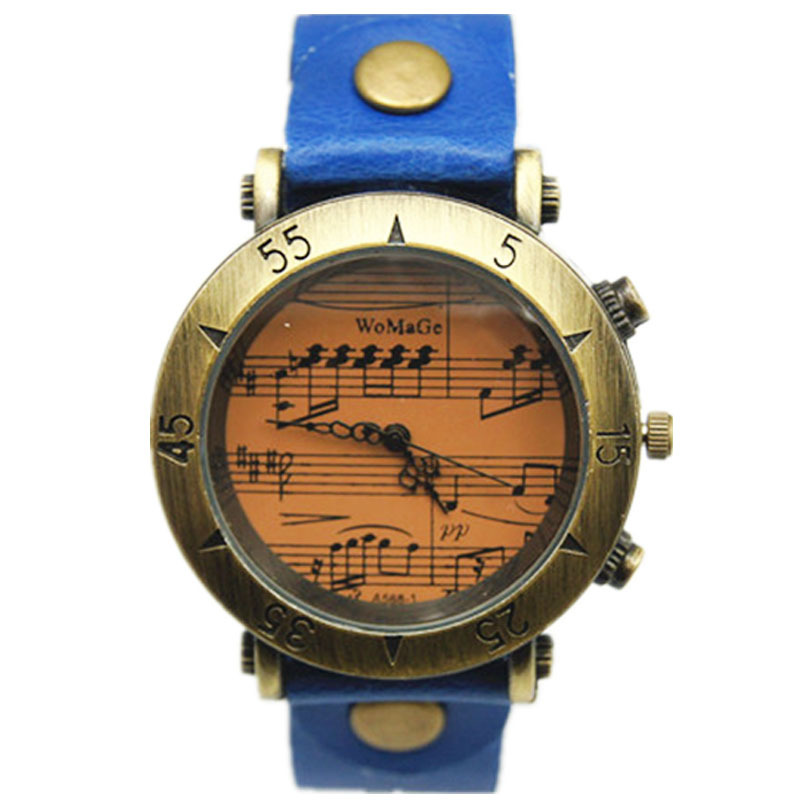 Womage Femei Vintage ceasuri Muzica Notation Pattern Bronz Face 13 Culori Bandă din piele Retro Ladies Fashion Casual Wristwatches