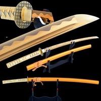 SHI JIAN Real Sharp Samurai Katana Sword 1060 Carbon Steel Gold Blade Cutting Practice Japanese Sword Full Tang Training Espadas