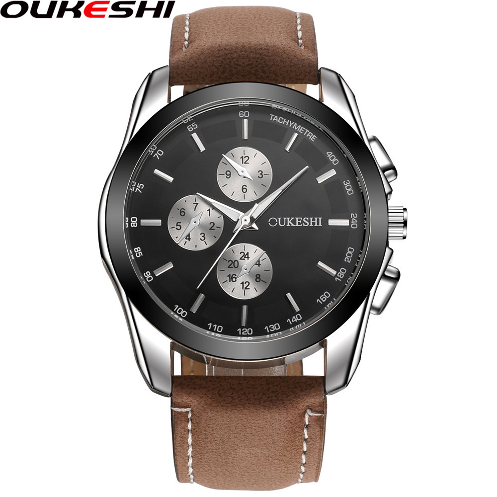2018 OUKESHI Brand Men Sports Watches Luxury Leather Military Watch Male Quartz Wristwatch Relogio Masculino OKS11 new listing yazole men watch luxury brand watches quartz clock fashion leather belts watch cheap sports wristwatch relogio male