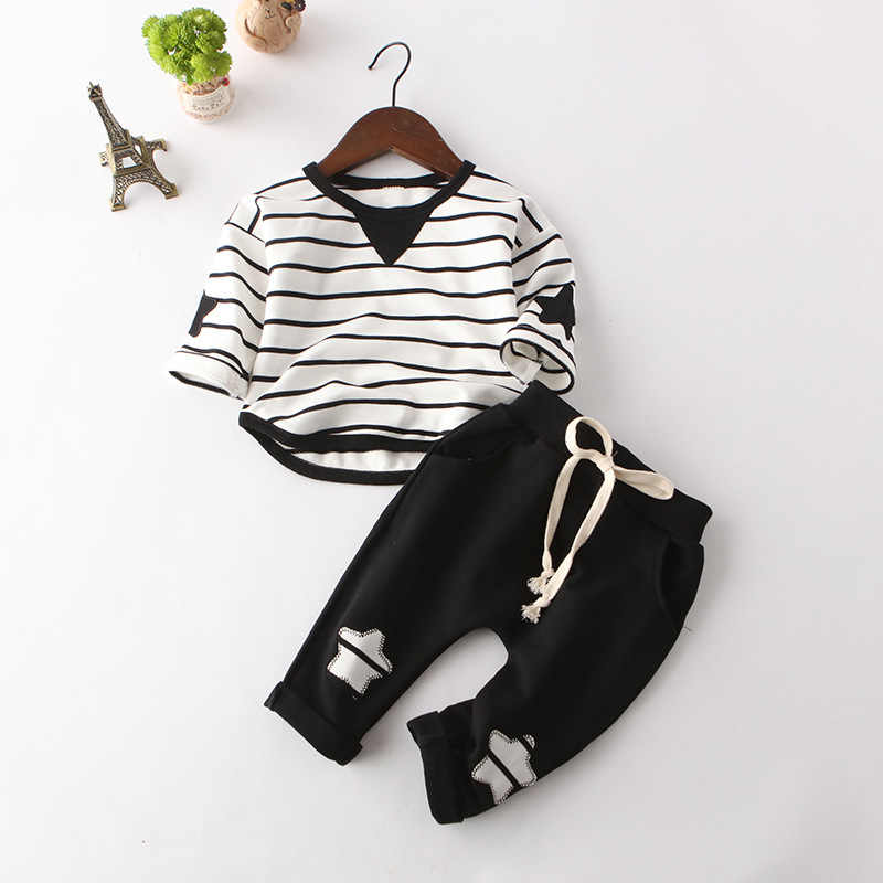 342704acc6461 2019 New Fashion Kids Clothes Spring & Autumn Baby Boys Sets Kids Long  Sleeve Sports Suits Bow Tie T-shirts + Pants Boys Clothes