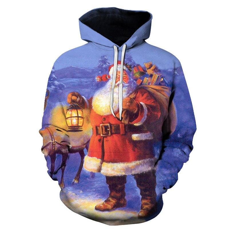 2018 New Santa Claus Printing Unisex Hoody Pullovers Fashion Casual 3D Sweatshirt Men/Women Hooded Autumn Jackets Printed S-6XL