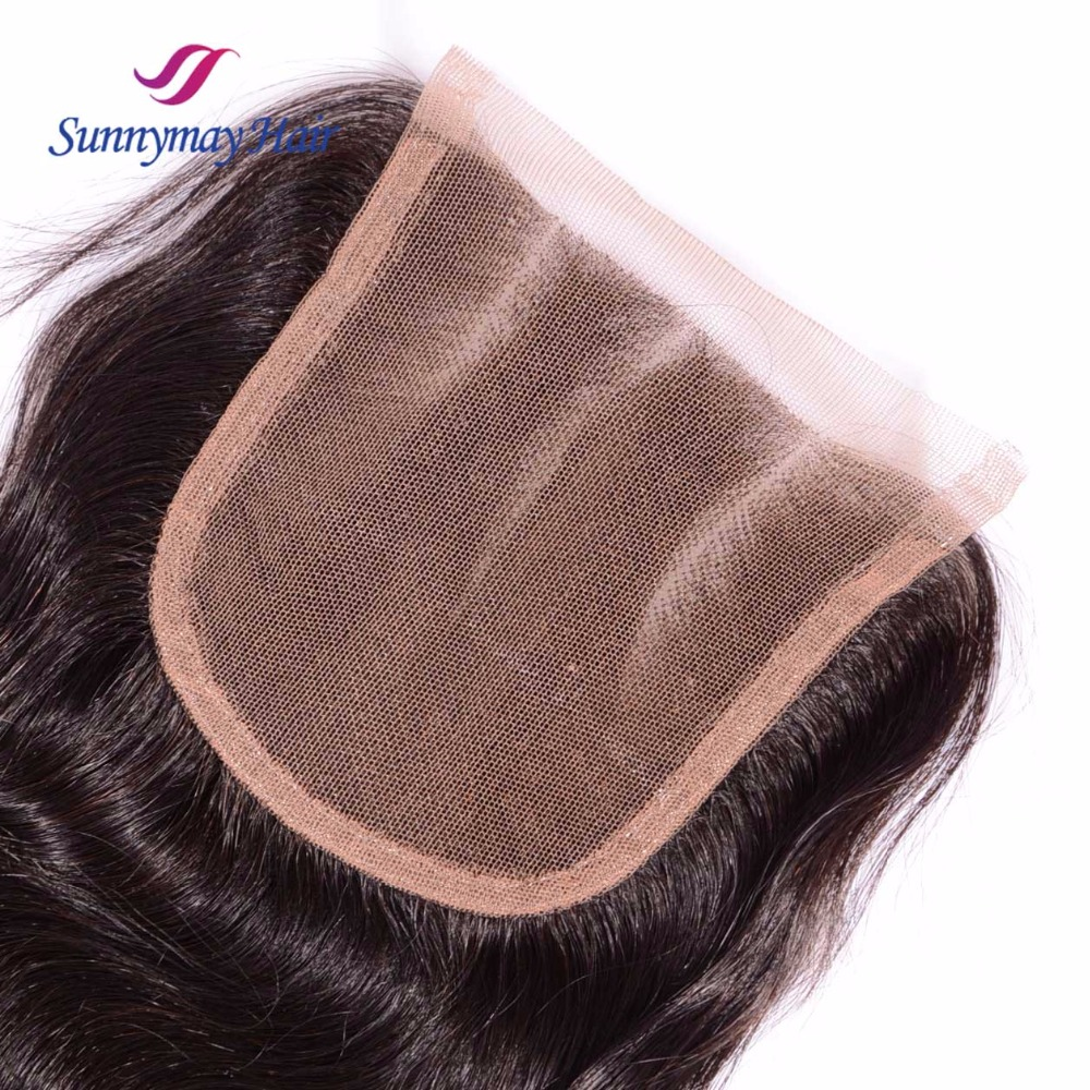 Sunnymay Peruvian Vrigin Hair Lace Closure 3 Part Body Wave Bleached Knots Lace Frontal Clousre