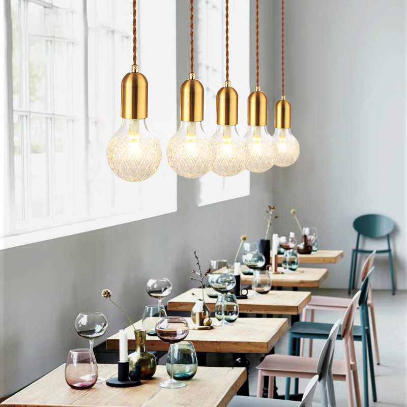 SANBUGM Modern Nordic Modern Pendant Lamps Hanging Lights Glass Ball Globe Lampshade Pendant Lamp Fixture Luster Hanging Lights