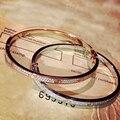 Designer de Moda 925 Sterling Silver Jewelry Platinum/Rose Banhado A Ouro 3A Cubic Zirconia Partido Bangle