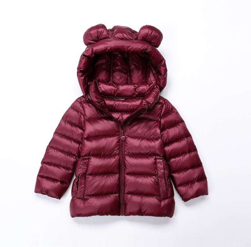 Children Down Jacket Long Sleeves Little Bear Ears Lightweight Warm Hooded Clothing Winter Hooded Jacket Short Coat Infants Kids zipper up hooded camo lightweight jacket