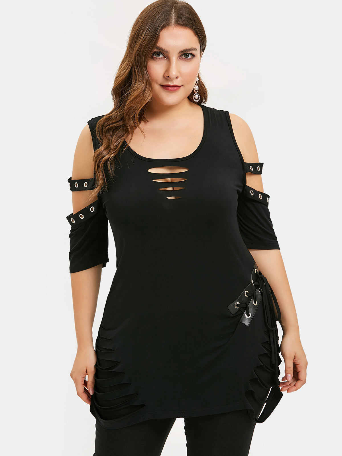 Wipalo Plus Size Cold Shoulder Lace Up Ripped T-Shirt Long Scoop Neck Cut Out Women T-Shirts Solid Gothic Summer Sexy Tees 2019