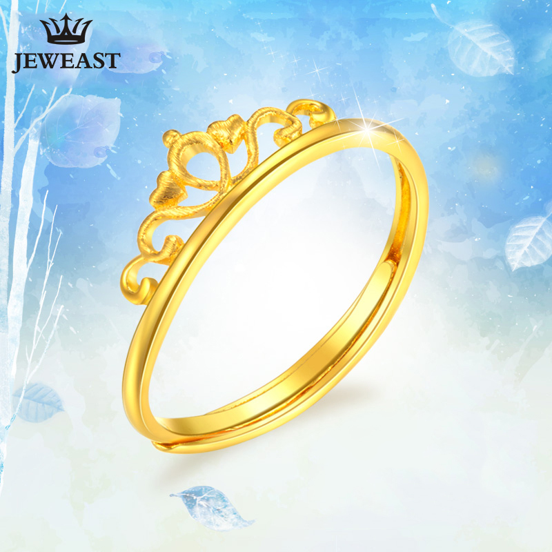 24K Pure Gold Ring Real AU 999 Solid Gold Rings Good Crown Beautiful Upscale Trendy Classic Party Fine Jewelry Hot Sell New 2018 24k gold ring pure real pattern exquisite fine jewelry mini resizable design fashion female new hot sale 999 trendy party women