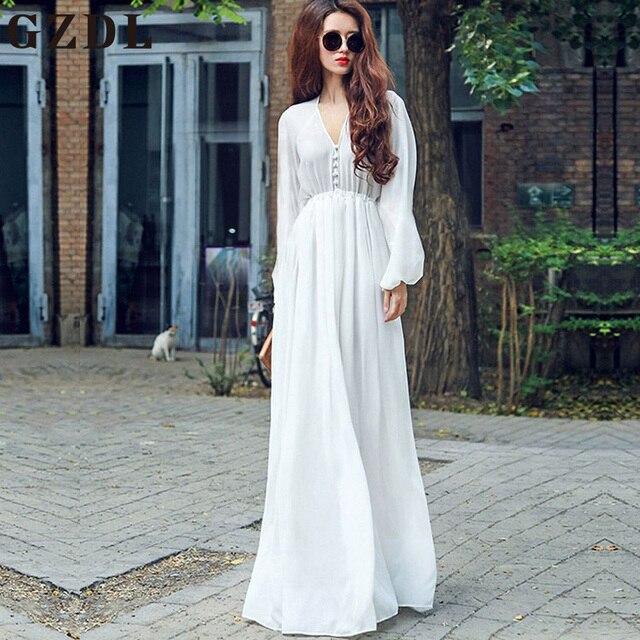 69653bf5e8 GZDL Elegante Gasa de Las Mujeres Blanco Largo Maxi Dress Vestidos Casual  Mujer de Manga Larga