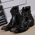 Guapo Cuero Genuino de Los Hombres Del Tobillo Del Metal Señaló Toe de Encaje Mens con cordones Zapatos Oxford Militar Cowboy Boots High Top Botas Hombre
