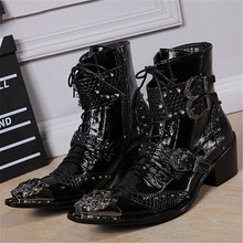 Handsome Genuine Leather Men Ankle Boots Metal Pointed Toe Lace Up Mens Oxford Shoes Military Cowboy Boots High Top Botas Hombre