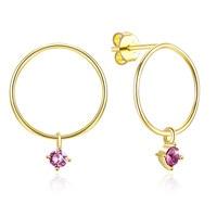 14k gold uses Austria crystal earrings, simple earrings real 925 sterling silver geometric earrings natural gemst amethyst