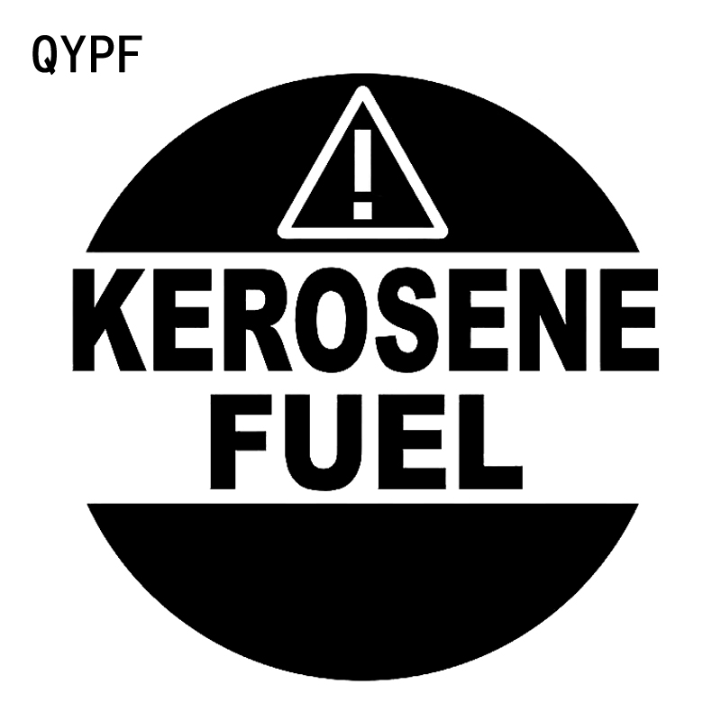 QYPF 13.2CM13.6CM KEROSENE FUEL Warning Mark Graphic Car Sticker Black/Silver Vinyl Decoration S9-2310