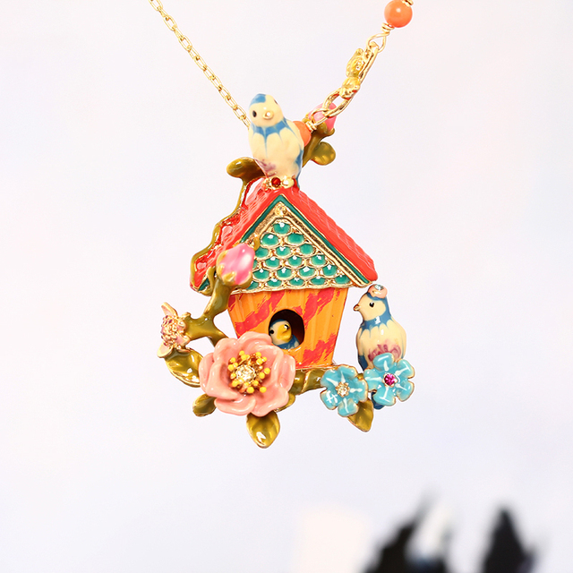 Paris Style Blue Tits Love Birds Play Around House Long Chain Sweater Chain Choker Woman Romantic Jewelry Gargantilha Jewellery