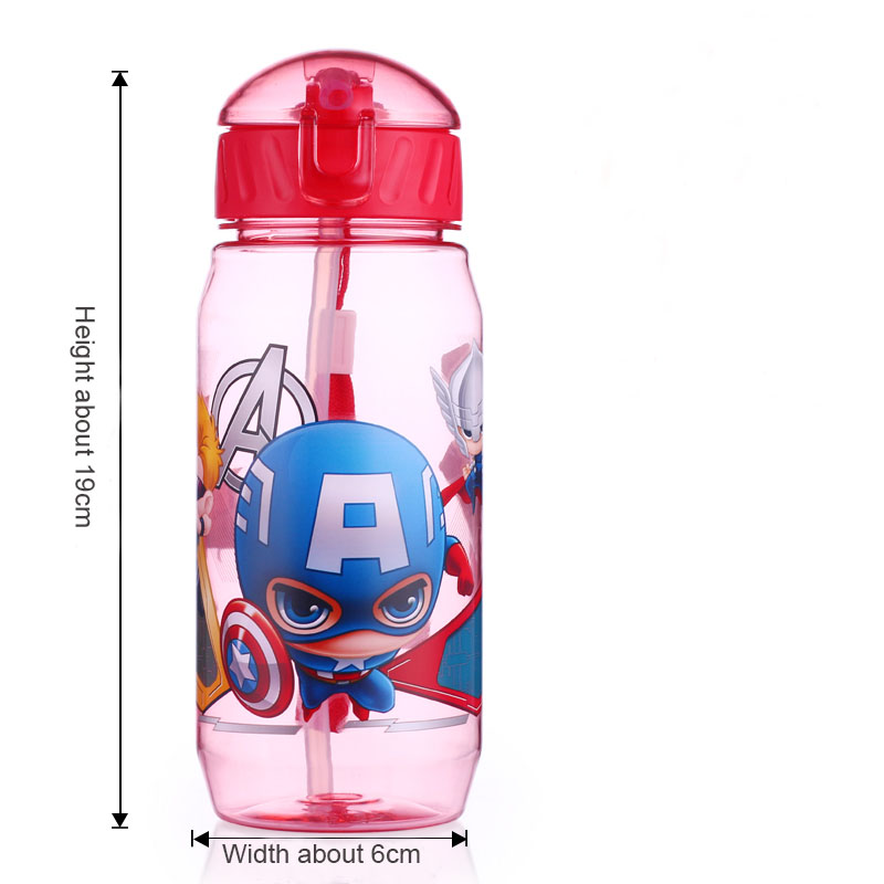Disney 17 Children Straw Plastic Water Bottle BPA Free Lovely Cartoon Eco-friendly With lid Portable Camp Student Water tumble 10