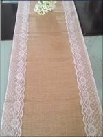 rustic retro wedding burlap table runner burlap lace table runner home party table decoration wedding carpet runner(30cmx270cm)