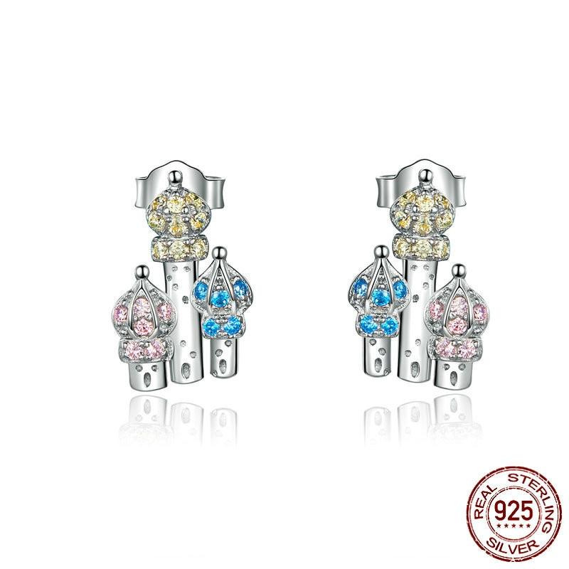 Castle Stud Earrings For Women 925 Sterling Silver Ear Studs Design Korean Style 2019 Fine Jewelry Brincos Sce591