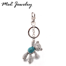 Pretty Crystal Bear Keychains Beautiful Bag Pendant Key ring Key chains Christmas Gift Jewelry Free Shipping