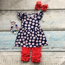 Summer design baby girls baseball print season style boutique navy red ruffles cotton capri outfit clothes matching accessories