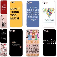 3D Cartoon Letter Quotes Phone Back case for iphone 6 s 6 7 funda mate iphone 5s se 5 Soft TPU For coque iphone 8 8plus X 360 rose cartoon owl imd tpu back case for iphone se 5s 5