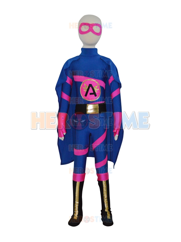 Free Shipping Kids Custom Made Super Angelina Girls Superhero Costume Children Zentai Lycra Spandex Bodysuit with Cape