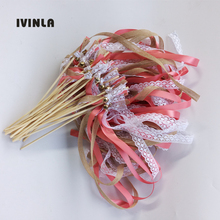 50pcs/Lot Coral Red jute wedding wands with white lace for decoration
