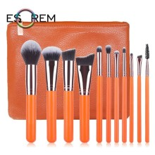 ESOREM 11pcs Makeup Brushes Synthetic Orange Wood Handle Cosmetic Brush Set Stippling Angled Shading Brochas Maquillaje 062703