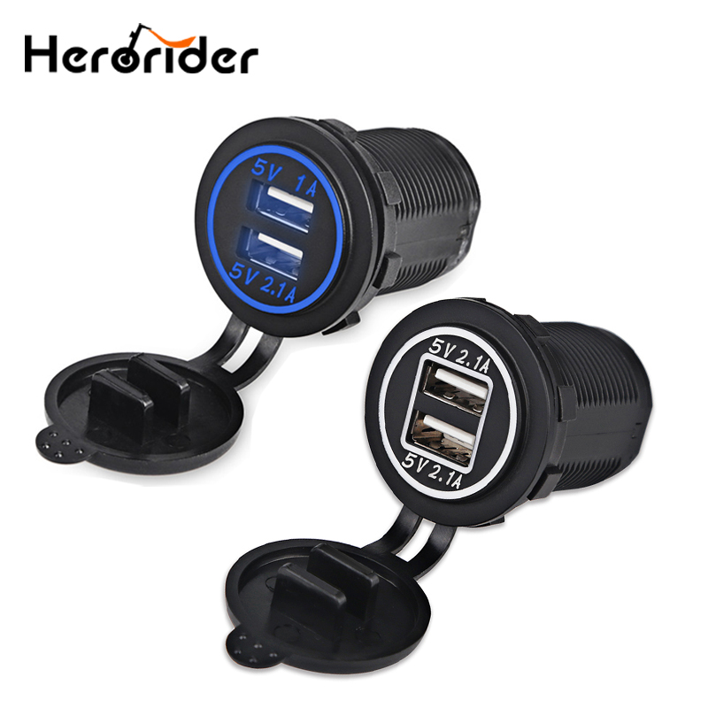 DC12-24V Waterproof Car Charger Dual USB Port Panel 5V 4.2A with Indicator Light